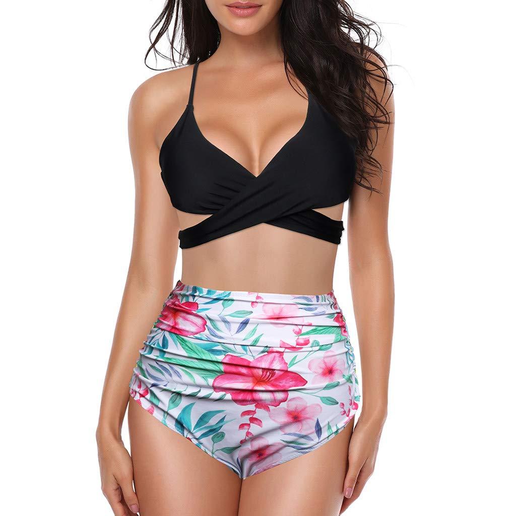 Bikini Damen Push Up Frauen Zweiteiler Plus Size Sexy Rückenfrei Halter Floral Gedruckt Bademode Set High Waist Hose Sommer Oberteil Großer Badeanzug