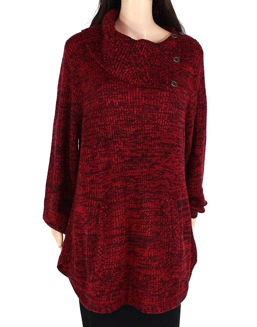 Style /& Co Womens Plus Marled Envelope Neck Pullover Sweater