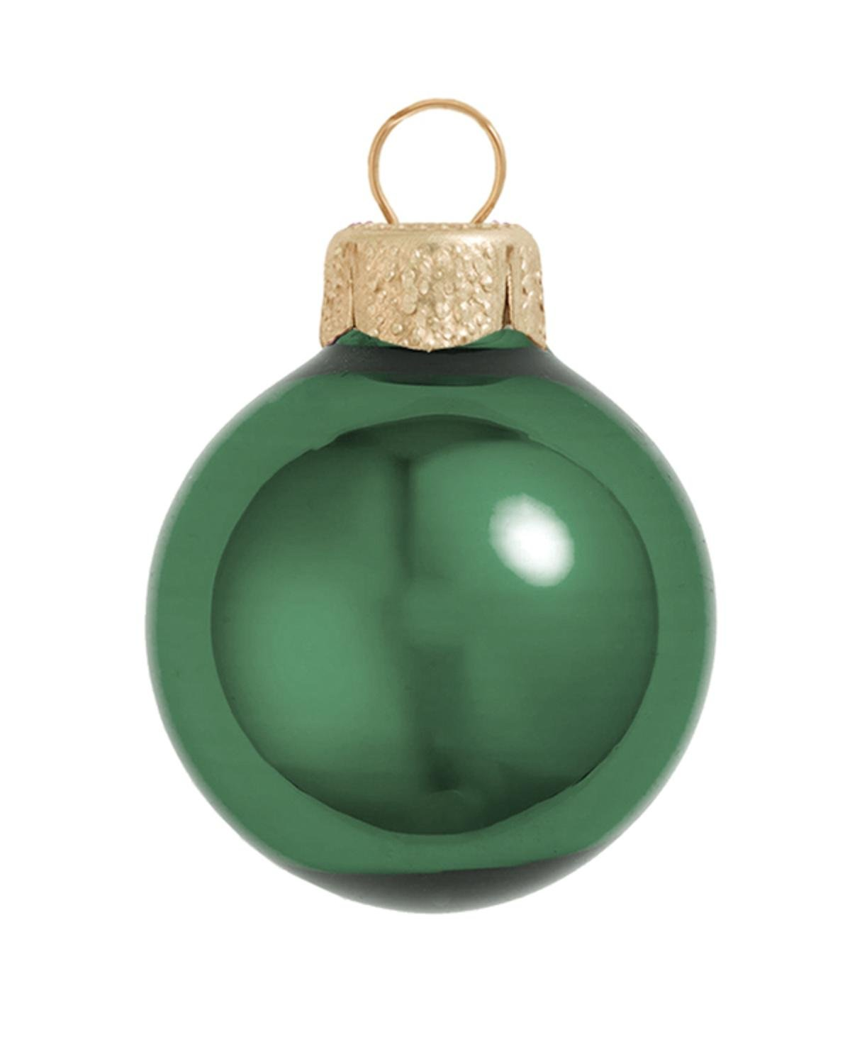 28ct Shiny Emerald Glass Ball Christmas Ornaments 2'' (50mm)