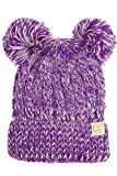 ScarvesMe CC Children Kids Girl Boy Ages 2-7 Two Tone Knitted Chunky Thick Stretchy Solid Color Pom Pom Beanie