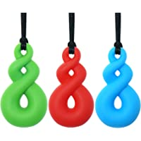 Sensory Chew Necklace for Kids Boys Girls(3 Pack) – Panny & Mody Maori Twist Pendant Chewy Teething Necklaces for Kids…