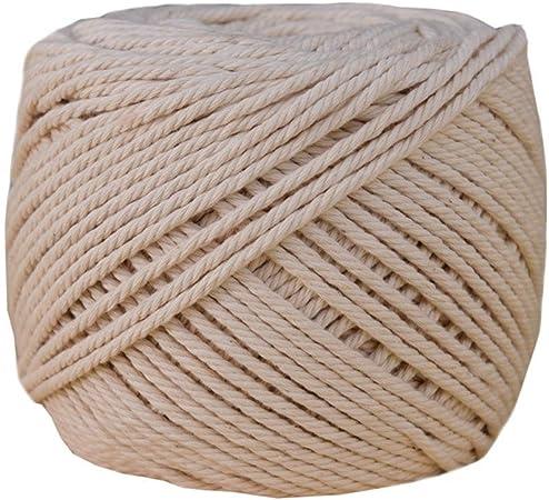 Cuerda trenzada de algodón color beige de 1/2/3/4/5/6/8/10 mm de diámetro para manualidades, hecha a mano, cuerda para atar 4mm x 100meters: Amazon.es: Hogar