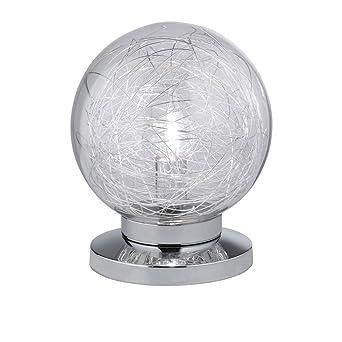 3 Watt LED Design Tisch Leuchte chrom Glas Drahtgeflecht Lampe ...