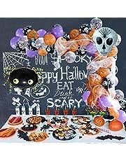 80pcs 12inch Halloween Balloon Arch Garland Kit, Black Orange Purple Confetti Balloons with Spider Web Eyeball Skull Mylar Spider for Halloween Birthday Party Decorations