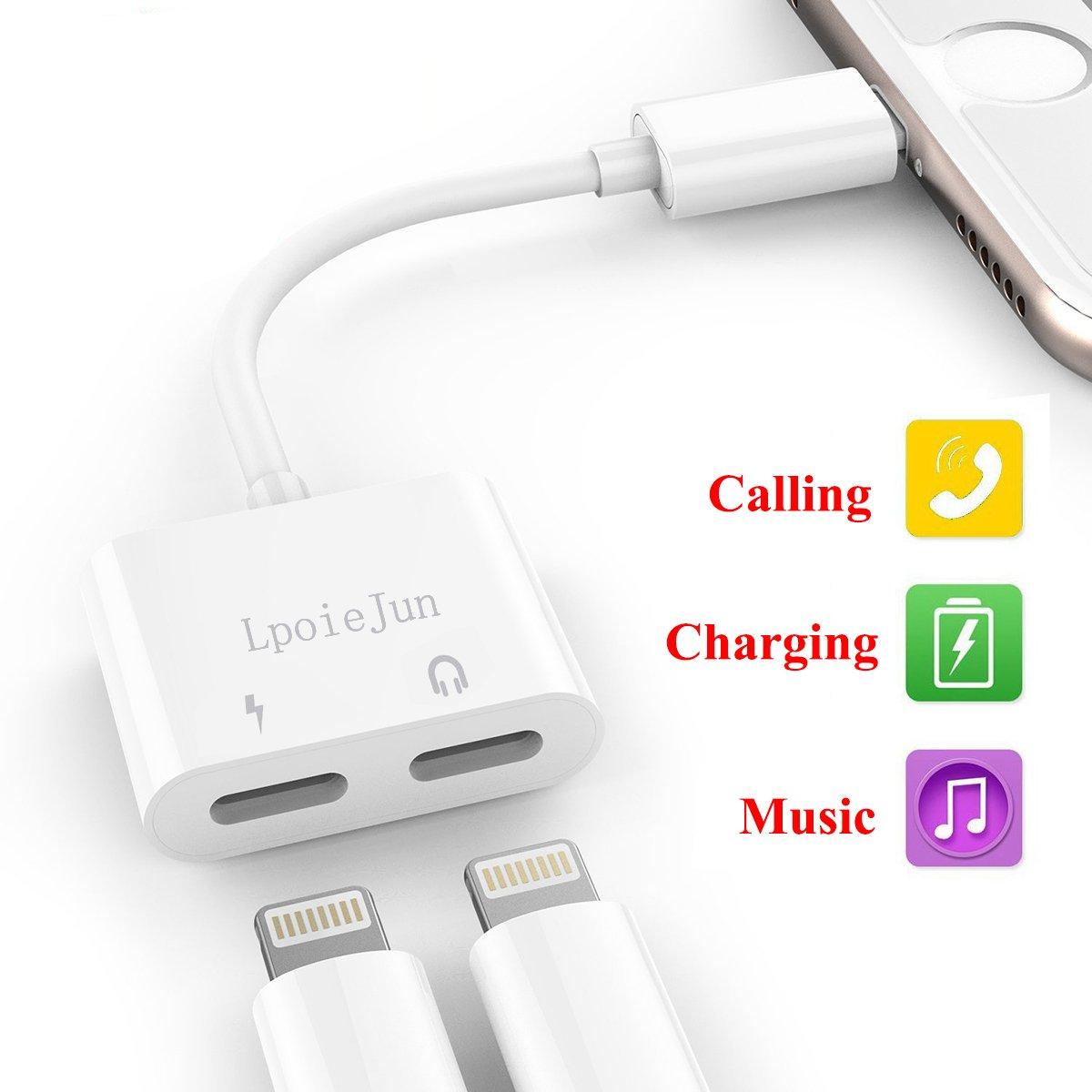 Dual adattatore Lightning per iPhone x, iPhone 8/8 Plus, iPhone 7/7 Plus ,2 in 1 Lightning convertitore. con Call & audio per cuffie e funzione di ricarica Lightning splitter.Compatibile per iOS 10.3/11 (bianco) iPhone 8/8Plu