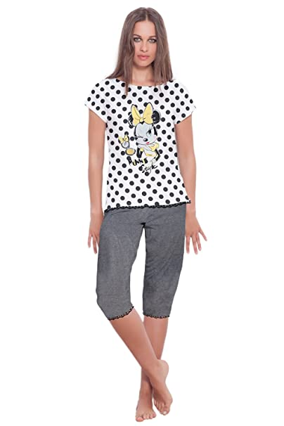 Disney - Pijama Pirata Para Mujer Minnie Mouse, Color Marengo Jaspe, Talla Xl