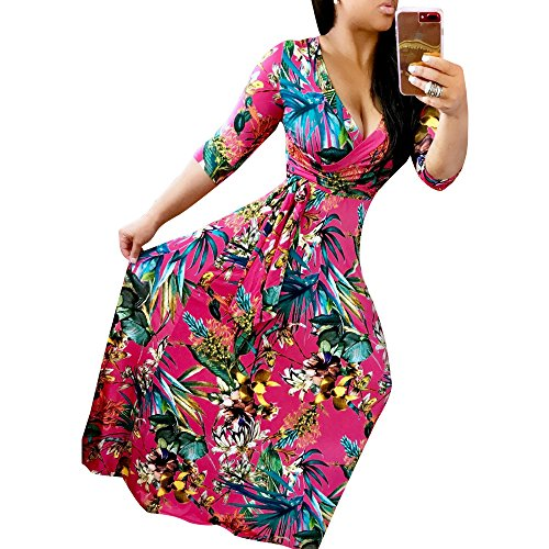 Aro Lora Sexy Imprimé Floral Profond Col V Manches Demi Casual Rouge Ceinture Robe Maxi Femmes