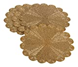 Saro LifeStyle 201.GL15R  Flower Design Beaded Placemat, Gold, 15'' (Set of 4 pcs)