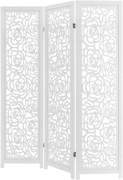 D,casa - Biombo Plegable de Madera Blanco romántico para salón Vitta: Amazon.es: Hogar
