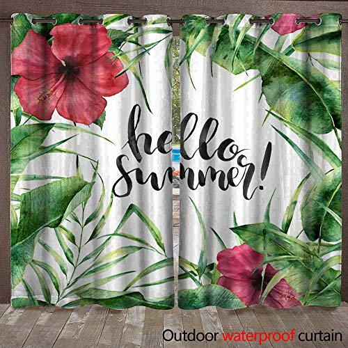 Patio Gazebo Pergola Cabana Watercolor Hello summer card Hand painted floral border with palm tree leaves banana branch and hibiscus isolated on white background Summe Waterproof CurtainW108