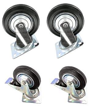 4 x 125 mm Rueda giratoria con freno freno Ruedas Ruedas de transporte con placa ruedas fijas o para mueble (playa cesta ruedas ruedas ruedas goma: ...