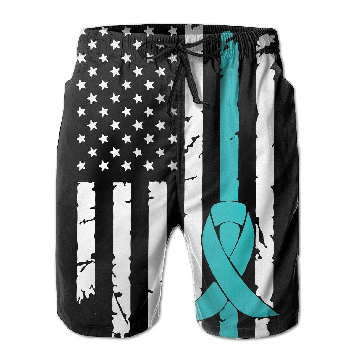 STDKNSK9 Mens PCOS Cancer Awareness USA Flag-1 Boardshorts Swimming Shorts