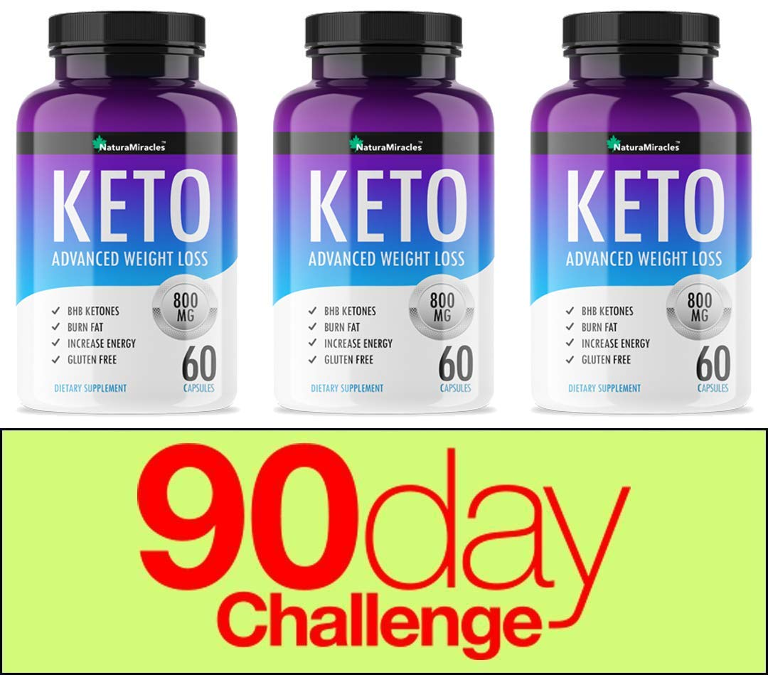 Keto Diet Advanced Fat Burner by Natura Miracles -800MG - Burn Fat Instead of Carbs - Advanced Weight Loss Ketosis Supplement - 180 Capsules - 90 Days Supply (3 Bottles) by NATURA MIRACLES
