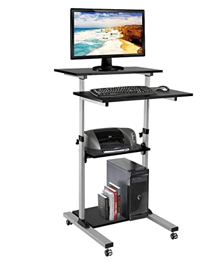 low priced d08c2 9e52f iDeer Life Height Adjustable Mobile Standing Desk, Stand Up Computer  Workstation, Rolling Presentation Laptop Cart, Standing Computer Desk for  ...