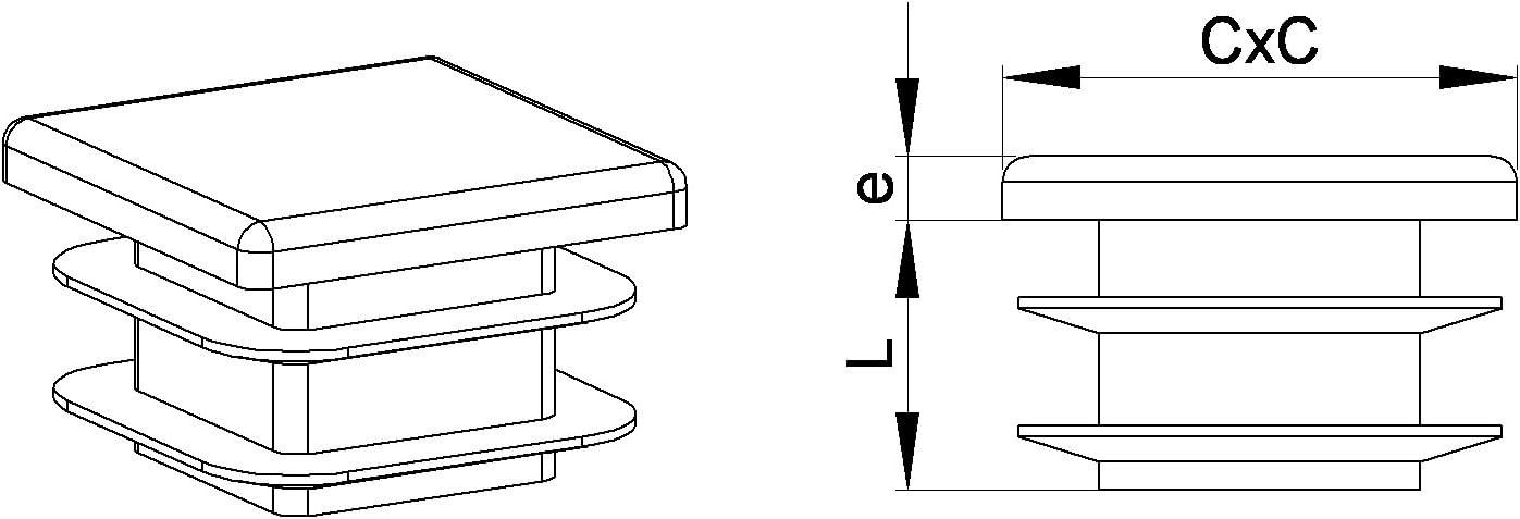 4 piezas ajile BIANCO Contera acanalada para tubo cuadrado 60 x 60 mm EPC260