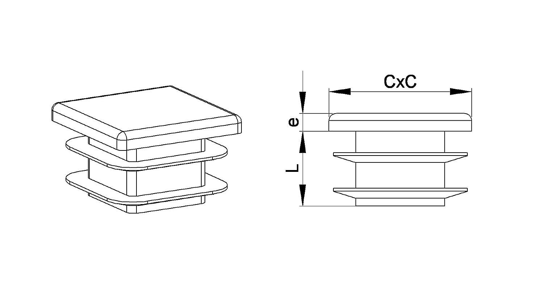 22 x 22 mm Juego de 4 inserciones estriadas cuadradas para tubos color gris Ajile EPC322-M