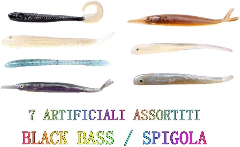 Generico 5 Pesciolini Gomma Falcetti Twister Artificiali Mare Trota Lago Fiume Black Bass