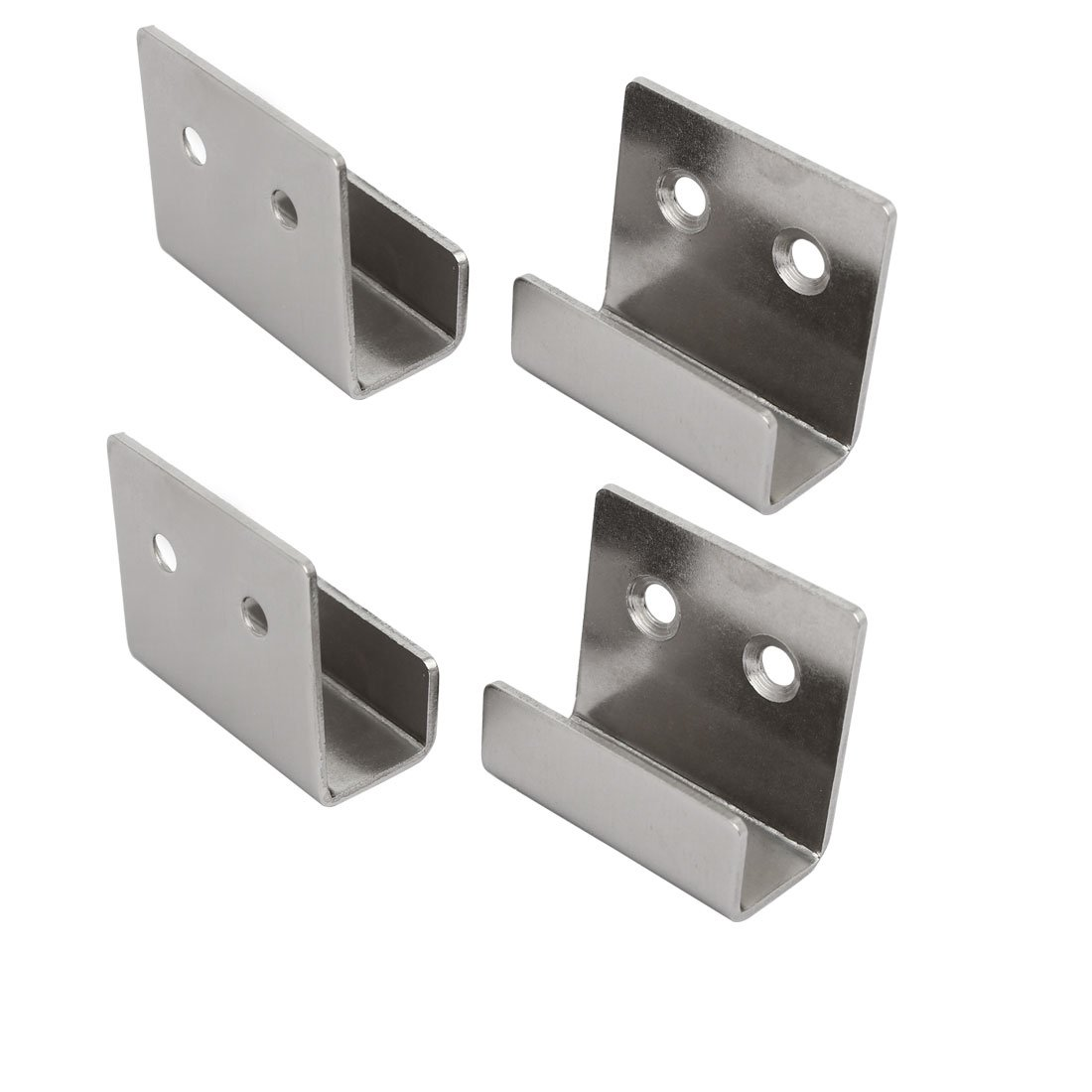 uxcell Tile Display Stainless Steel Wall Hanger Bracket Silver Tone 4pcs