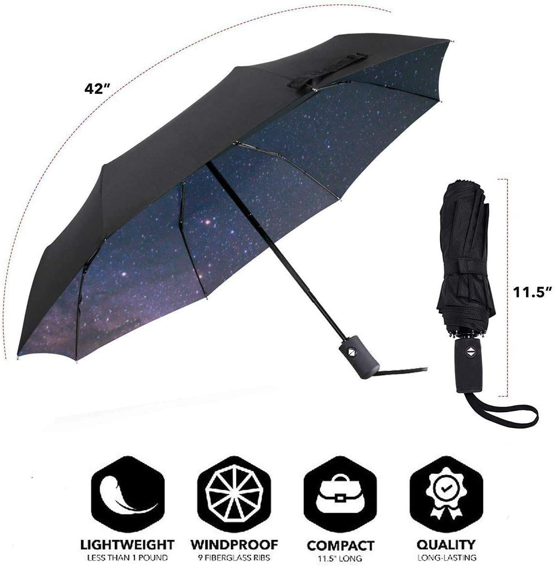 NA The Pink Sky Automatic Tri-fold Umbrella Outer Print One Size