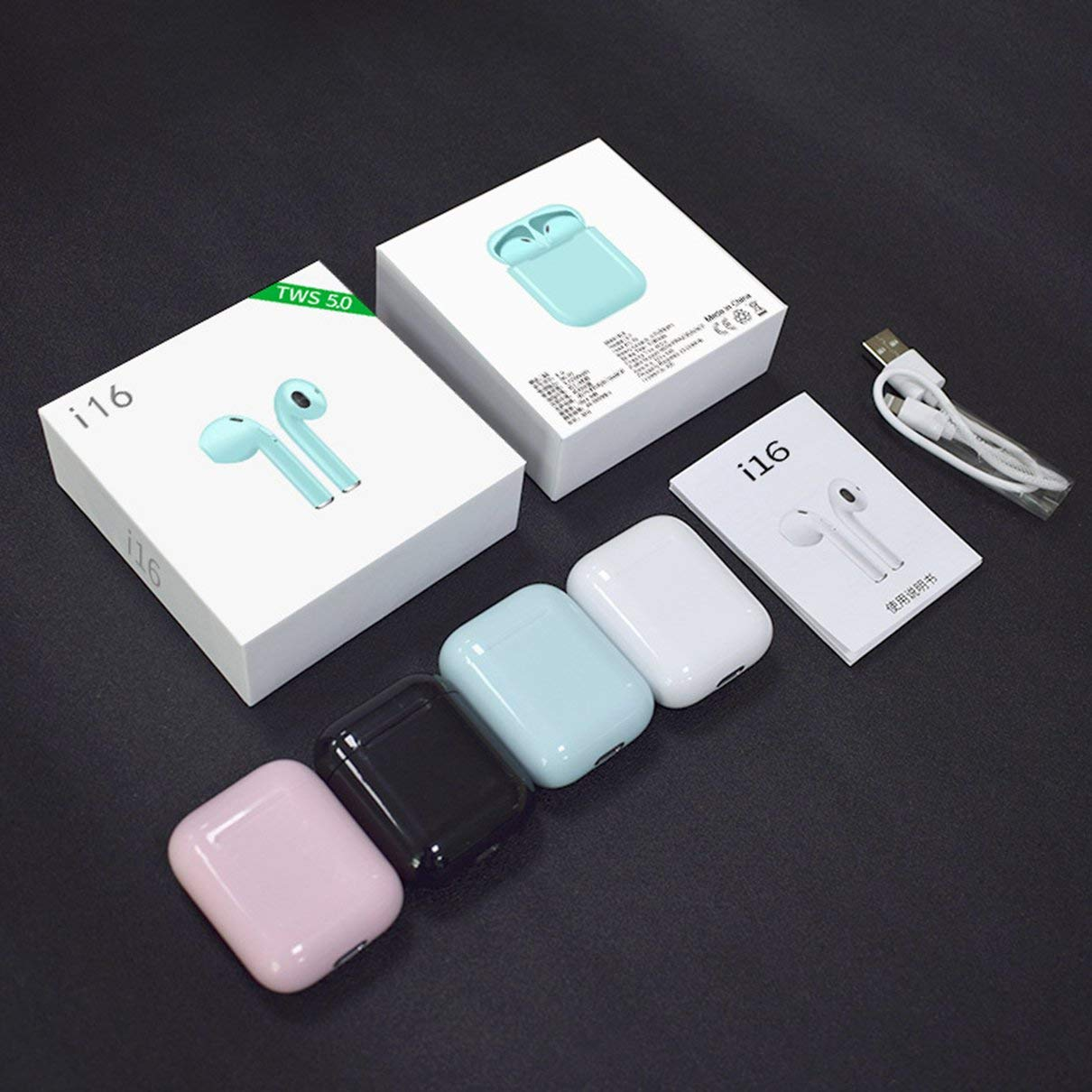 fghfhfgjdfj Cuffie Senza Fili per Cuffie Wireless I16 TWS con Microfono Mini Cuffia Stereo Auricolari per chiamate binaurali in-Ear