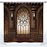 SCOCICI Funky Shower Curtain,Gothic,Antique Myst Gate with Oriental Islamic Pattern and Curvings Artistic Design Illustration,Brown,Polyester Shower Curtains Bathroom Decor Set with Hooks