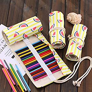 LtrottedJ 36 Holes Canvas Wrap Roll up Pencil Case Pen Bag,Holder Storage Pouch Hot (A)