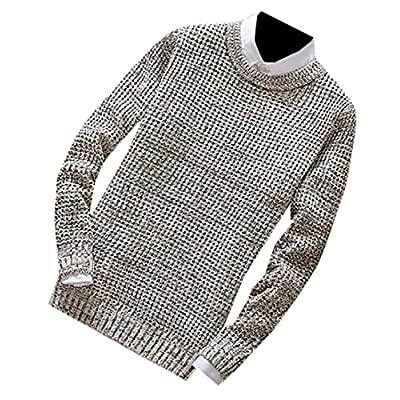 Top Pandapang Mens Casual Slim Fit Crewneck Knitted Solid Pullover Sweaters