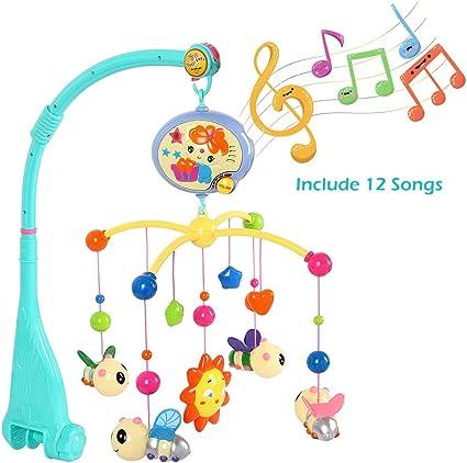 Mobile Musical Lumineux Lit Jouet B/éb/é Projection Fille Gar/çon Maison Animaux Abeille Soleil Musiques Sons