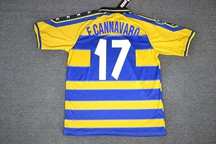 buy popular 157d2 08e95 Amazon.com : Retro CANNAVARO#17 Parma Home Soccer Jersey ...