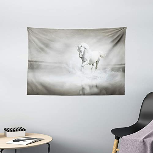 Ambesonne Horses Tapestry, Wild Horse Running Through Water Dramatic for The Motivation of Life Art, Wide Wall Hanging for Bedroom Living Room Dorm, 60 X 40 , Black and White