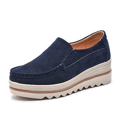 Damen Mokassins Plateau Wildleder Schlupf Loafers Halbschuhe Sneaker mit  Keilabsatz 5cm Schwarz Blau Khaki 35- 2a93b805be