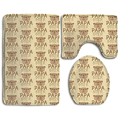 Papa Otter Bathroom Non-Slip 3-Piece Set Rug Contour Mat + Lid Toilet Cover + Foot Pad Bath Mat - Home Essential - Give Your Family The Best Protection (Rug Foam Memory Walmart Bath)
