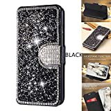 iPhone 7 Plus Case,iPhone 8 Plus Wallet Case,DECVO Glitter Diamond Bling Rhinestone Flip Case Magnetic Bright Crystal Protective Leather with Card Slot Kickstand for iPhone 7/8 Plus 5.5inch (BLACK)