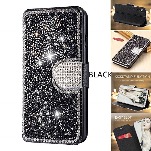 iPhone 7 Plus Case,iPhone 8 Plus Wallet Case,DECVO Glitter Diamond Bling Rhinestone Flip Case Magnetic Bright Crystal Protective Leather with Card Slot Kickstand for iPhone 7/8 Plus 5.5inch (BLACK) (Otterbox Leopard Cover Case Pink)
