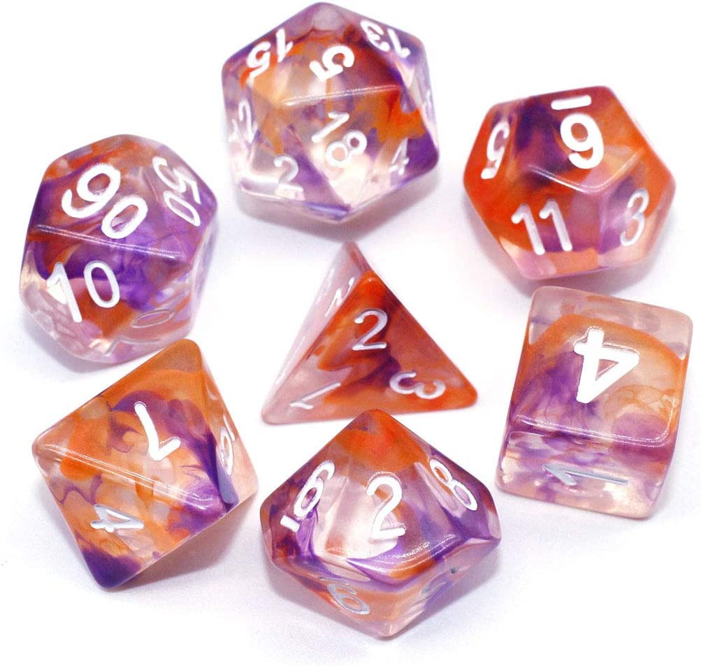 Pathfinder MTG Role Playing Game Pink Swirl Transparent Dice D/&D HD Dice Set DND RPG Polyhedral Resin Dice for Dungeons and Dragons