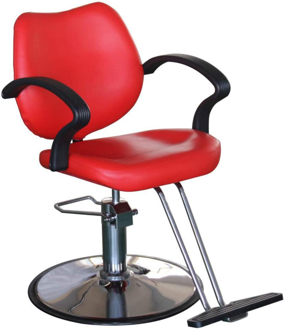 Salon Style Tattoo Spa Beauty Equipment Barber Chair Styling Chair Hydraulic Heavy Duty Leather Swivel Classic Hair Salon Chair for Hair Stylist Women Man,Red: Kitchen & Dining