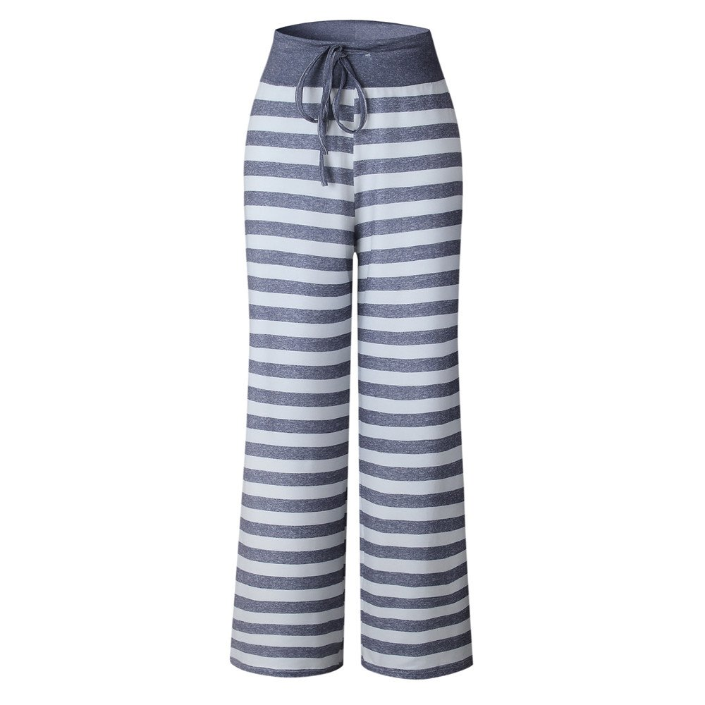 Women's Loose Pants,Ladies Summer Casual Striped Printed Wide Leg Loose Drawstring Straight Trousers