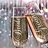 P Lab Set of 2, Bride Groom Names & Date, Personalized Wedding Toast Champagne Flute Set, Wedding Toasting Glasses - Etched Flutes for Bride & Groom Customized Wedding Gift #N2