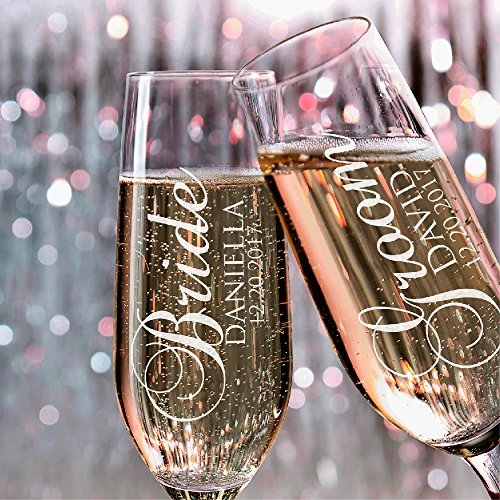 P Lab Set of 2, Bride Groom Names & Date, Personalized Wedding Toast Champagne Flute Set, Wedding Toasting Glasses - Etched Flutes for Bride & Groom Customized Wedding Gift -