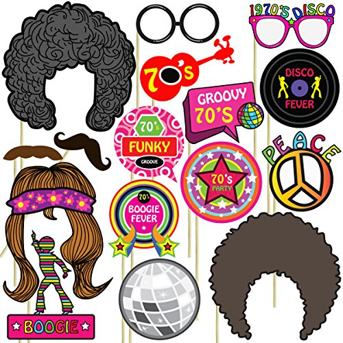 70s Photo Props (32 Pieces) for Photo Booths, Selfies, Great for Birthday Parties, Proms, and More! Party Favors are Pre-Made (Not DIY) for Your Convenience!