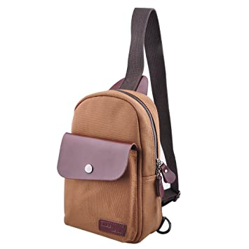 Amazon.com : Canvas Sling Bag, Qcute Outdoor Sports Casual Chest ...