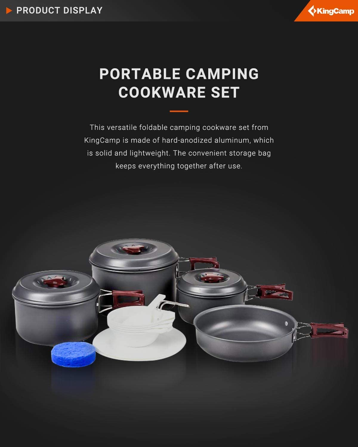 Outdoor Camp Gear Accessories for Family Hiking Picnic Lightweight Cookware Sets Backpacking Cooking Set KingCamp Camping Cookware Mess Kit