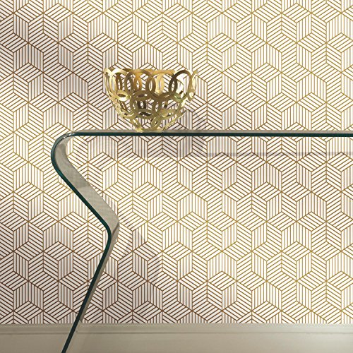 "RoomMates RMK10704WP Stripped Hexagon Peel and Stick Wallpaper, 20.5"" x 16.5 feet, White/Gold"