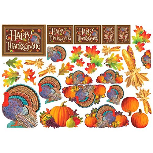(amscan Thanksgiving Assorted Paper Cutout Value Pack, 30 Ct. | Party Decoration)