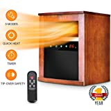 Space Heater - 1500W Room Heater with 3 Heating Modes, Remote Control and Timer, Electric Heater with Overheat&Tip-Over Shut Off Protection, for Bedroom and Office, Low Noise, Wood Cabinet, L, Brown
