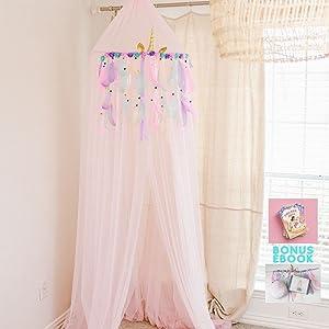 Jenn & Joos Unicorn Princess Canopy for Girls Bed, XLarge Pink Princess Bed Canopy for Girls, Soft Reading Nook Canopy with Unicorn Canopy Decoration