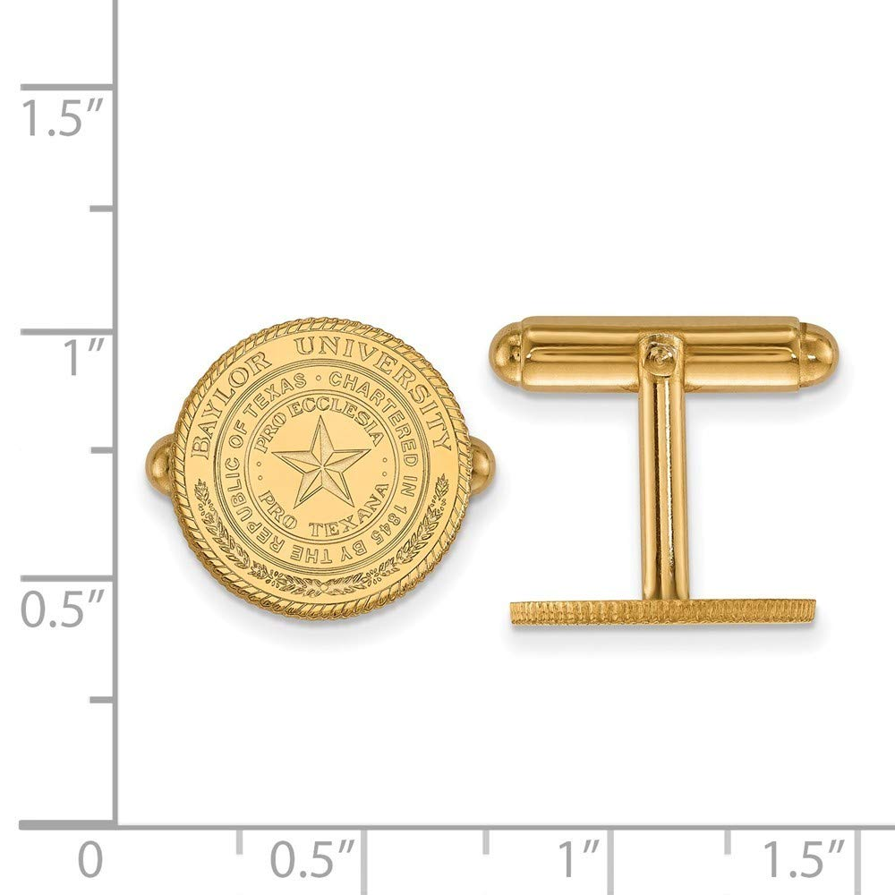 Roy Rose Jewelry Sterling Silver with 14K Yellow Gold-plated LogoArt Baylor University Crest Cuff Links