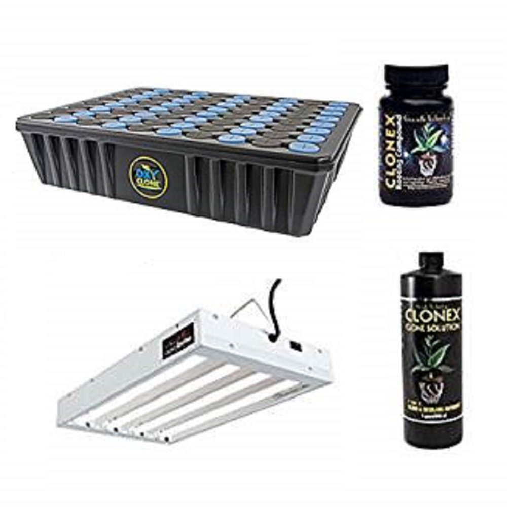 oxyCLONE 80 Site Cloner + T5 Fluorescent 2 ft 4 Lamp + Clonex Gel 100ml & Clonex Clone Solution Quart - Cloning Package Kit by oxyclone hydrofarm clonex
