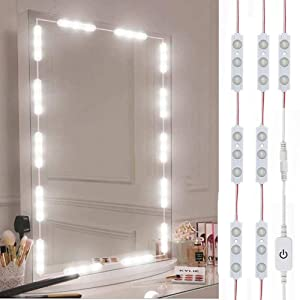 Led Vanity Mirror Lights, Hollywood Style Vanity Make Up Light, 10ft Ultra Bright White LED, Dimmable Touch Control Lights Strip, for Makeup Vanity Table & Bathroom Mirror, Mirror Not Included