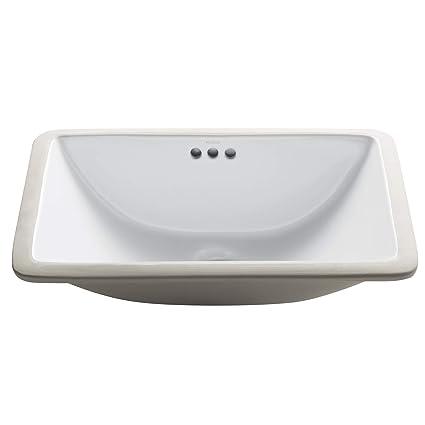 Small Rectangular Undermount Bathroom Sink | Kraus Kcu 241 Elavo Ceramic Small Rectangular Undermount Bathroom